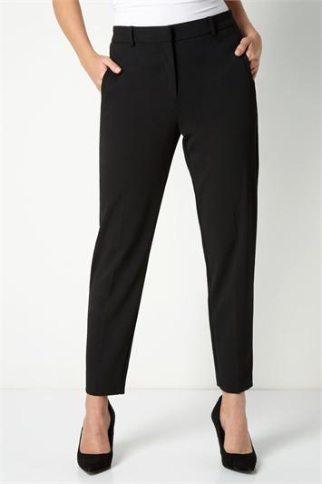 Black Short Straight Leg Tapered Trouser, Image 1 of 3