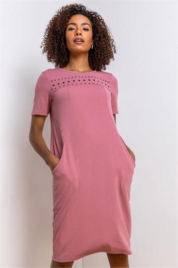 Rose Eyelet Embellished Pocket Slouch Dress, Image 1 of 4