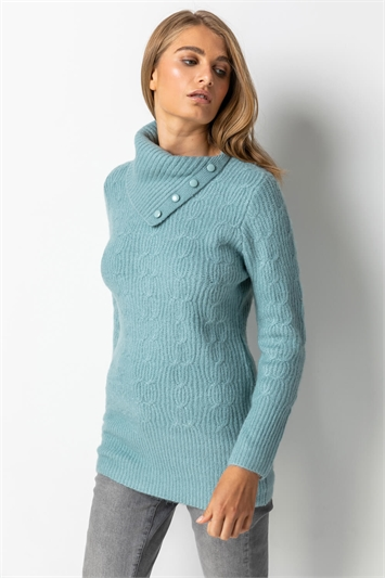 Steel Blue Cable Knit High Neck Jumper, Image 1 of 5
