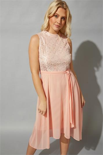 Light Pink High Neck Lace Detail Dress