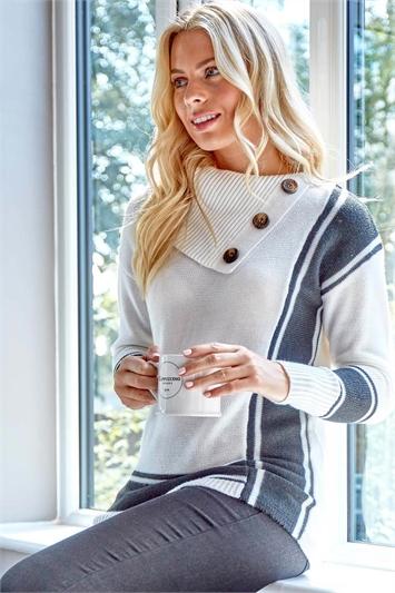 White Textured Knit Button Detail Stripe Jumper