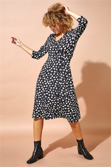 Floral Print Midi Length Tea Dress