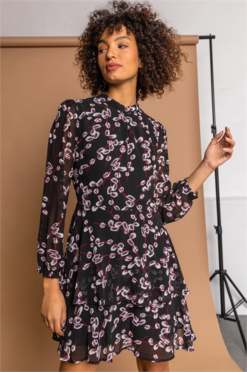 Black Floral Chiffon Tiered High Neck Dress, Image 1 of 5