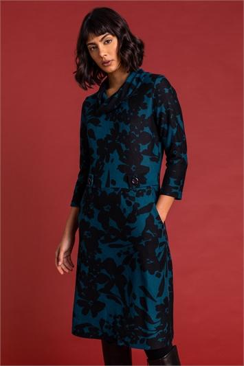 Teal Floral Print Cowl Neck Dress, Image 1 of 5