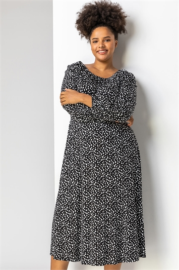 Black Curve Spot Print Midi Dress, Image 1 of 5