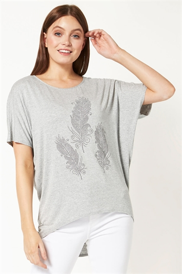 Feather Diamante Embellished T-Shirt