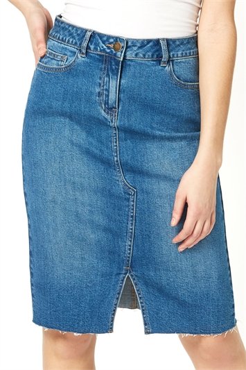 Split Detail Denim Skirt
