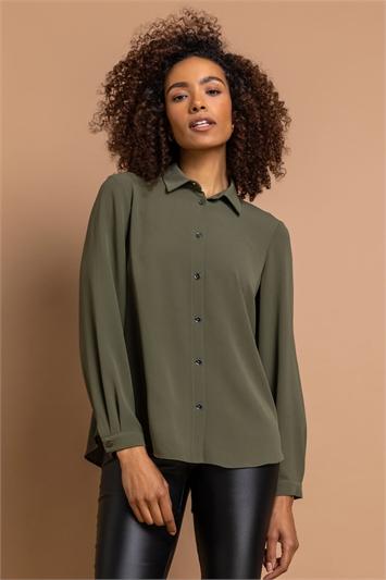 Khaki Plain Button Through Blouse