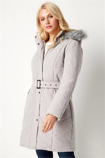 Belted Quilt Longline Coat