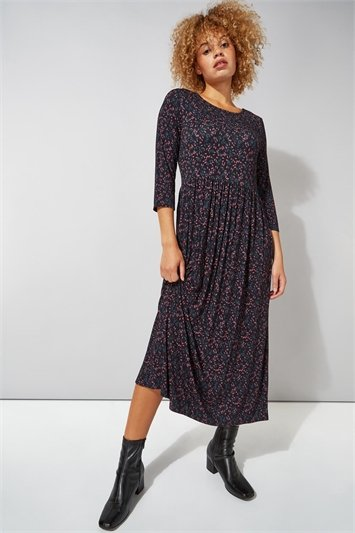 Ditsy Print 3/4 Sleeve Midi Dress