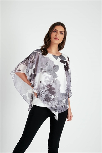 Floral Chiffon Overlay Metallic Print Top