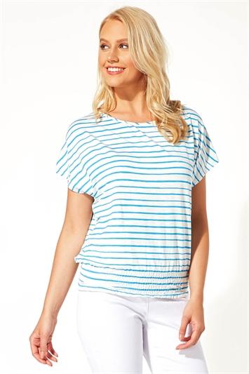 Stripe Print Shirred Hem Top
