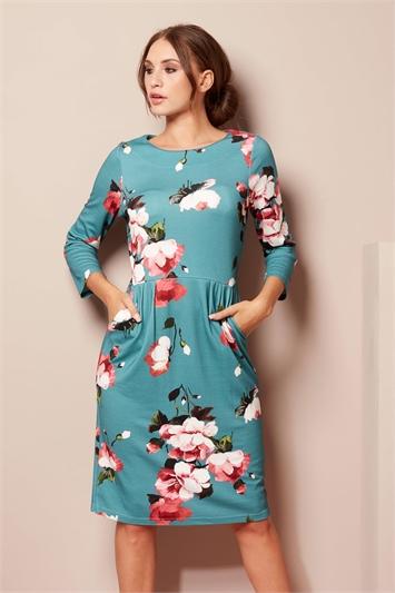 Floral Pocket Detail Dress