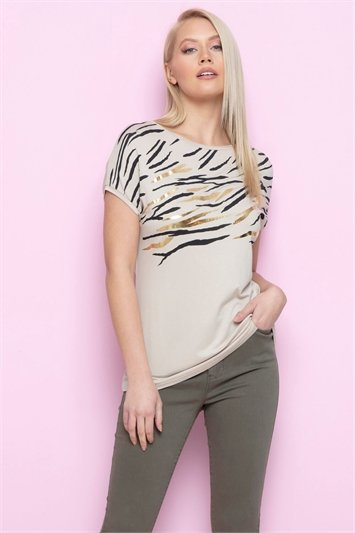 Foil Zebra Print T Shirt