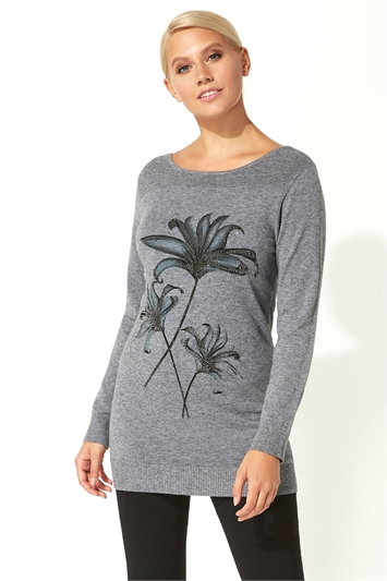 Diamante Embellished Floral Tunic Jumper