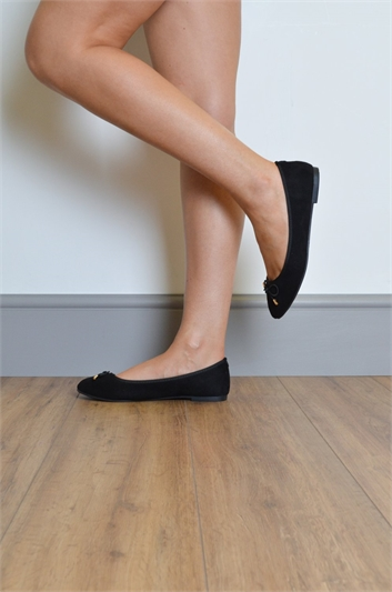 Suede Bow Dolly Shoes