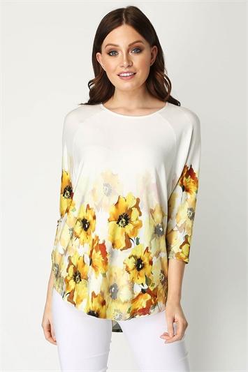 Floral Border Print 3/4 Sleeve Top