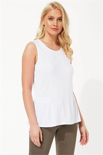 Sleeveless Embroidered Front Top