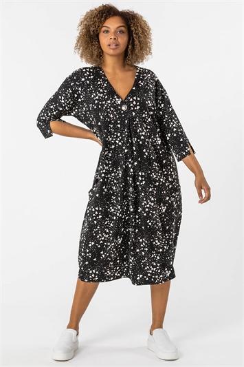 Black Curve Ditsy Heart Print Cocoon Dress