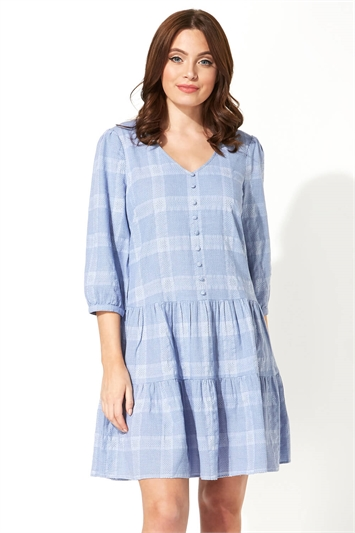 Check Tiered Swing Dress
