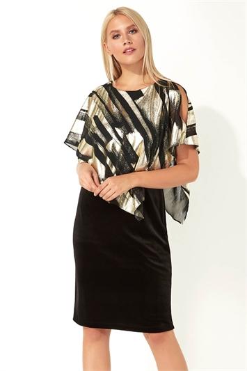 Stroke Print Asymmetric Overlay Dress