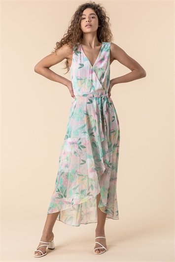 Floral Print Dipped Hem Midi Dress