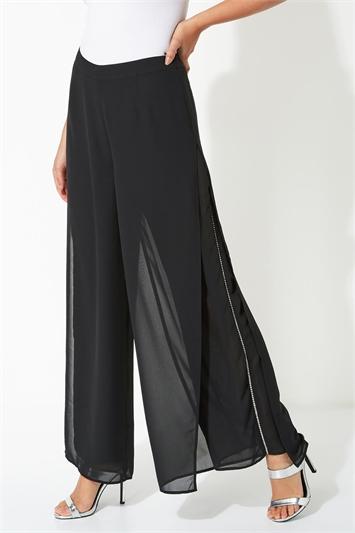 Diamante Embellished Side Split Chiffon Trousers