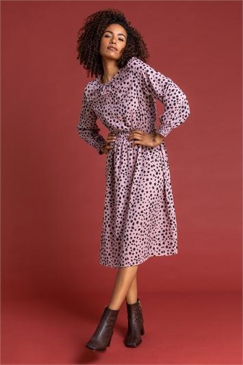 Pink Spot Print Shirred Waist Midi Dress