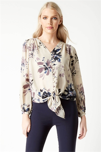 Printed Knot Front Blouse