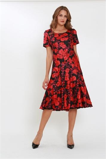 Julianna Floral Satin Bias Cut Midi Dress