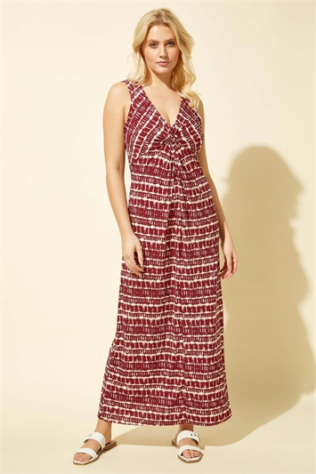 Tie Dye Twist Front Maxi Dress