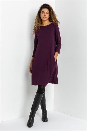 Purple A-Line Pocket Detail Swing Dress