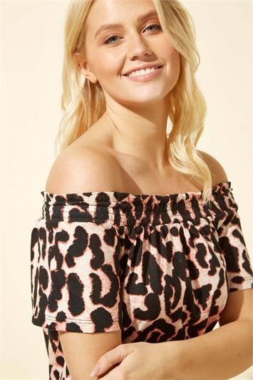 Animal Print Bardot Frill Dress