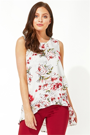 Floral Dip Back Lace Insert Top