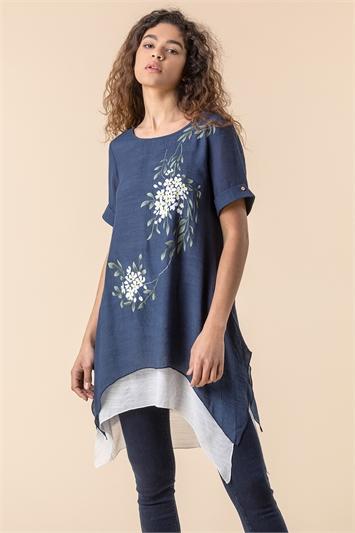 Floral Print Asymmetric Tunic Top