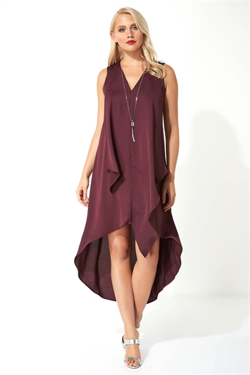 Satin Necklace Trim Swing Dress