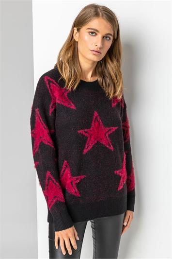 Black Star Print Fluffy Jumper
