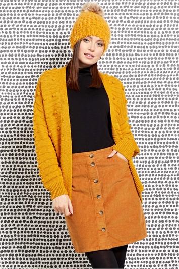 Corduroy Button Through Skirt