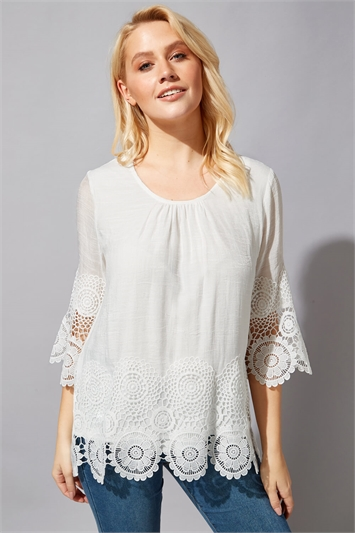 Lace Hem Tunic Top