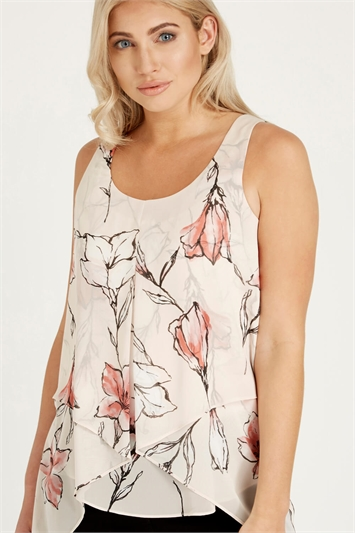 Floral Print Asymmetric Vest Top