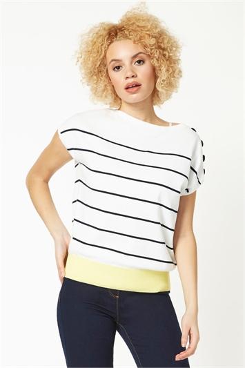 Button Detail Stripe Colour Block T-Shirt