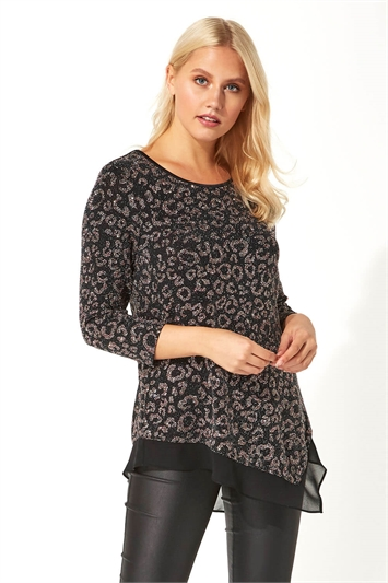 Animal Print Chiffon Hem Top