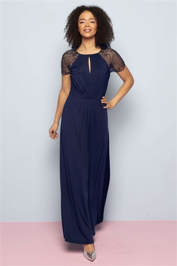 Embellished Sleeve Jersey Maxi Dress