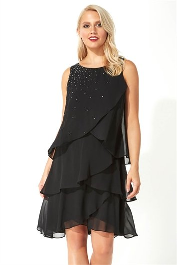 Embellished Frill Swing Dress