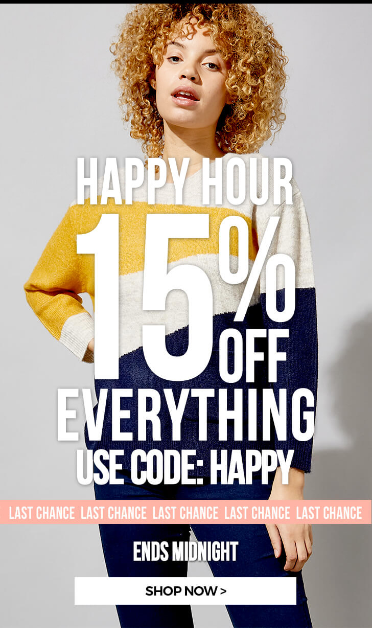 15% OFF ALL SALE - USE CODE: HAPPY - SHOP NOW >