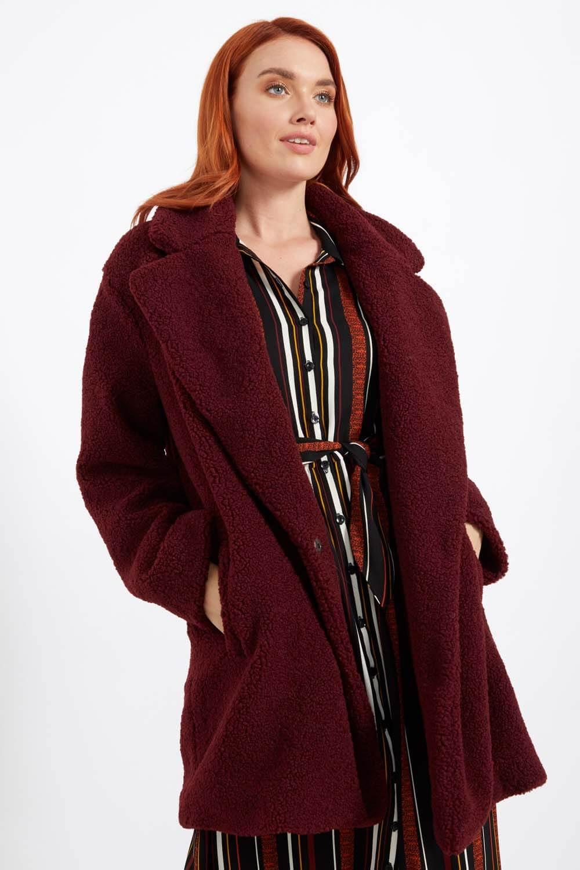 Longline Soft Faux Fur Teddy Coat in Wine Roman Originals UK
