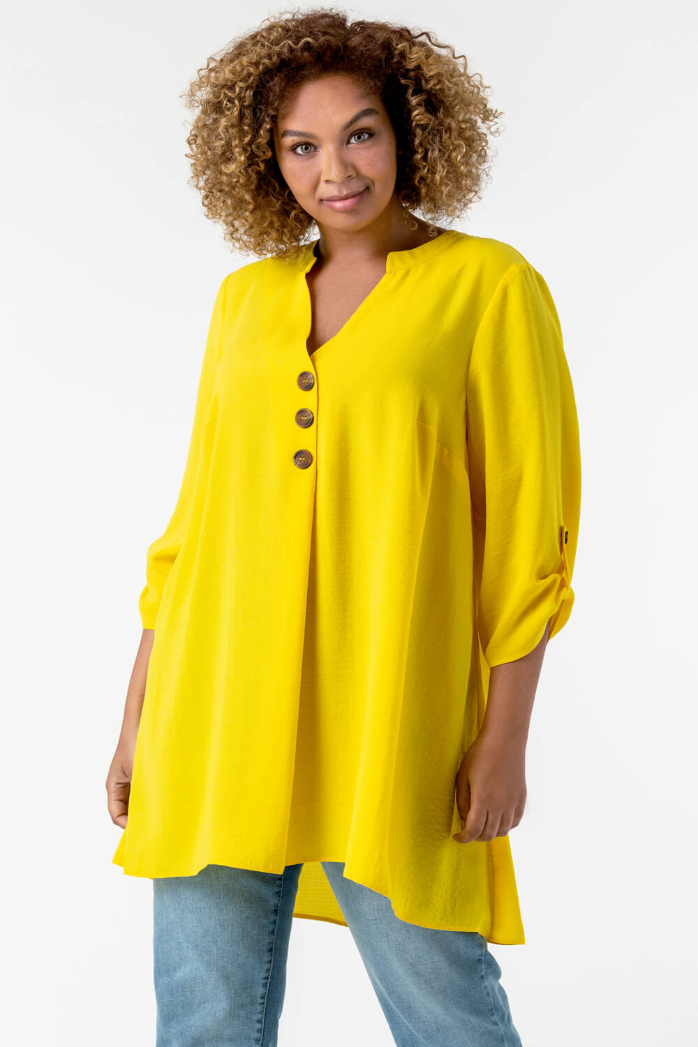 Roman Originals Curve Button Detail Tunic Top in Yellow