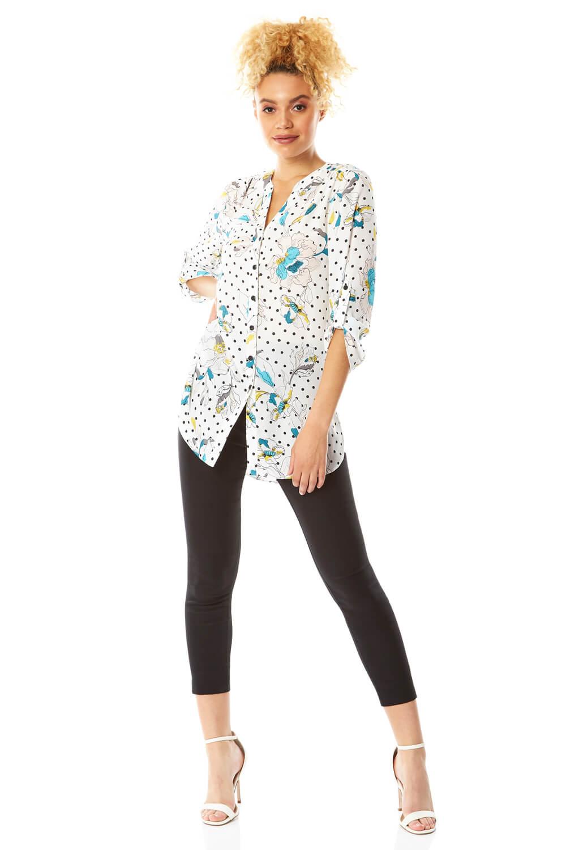 spot floral button through blouse
