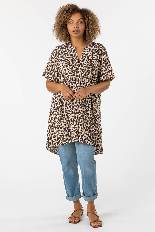 Roman Originals Curve Animal Print Tunic Top in Brown