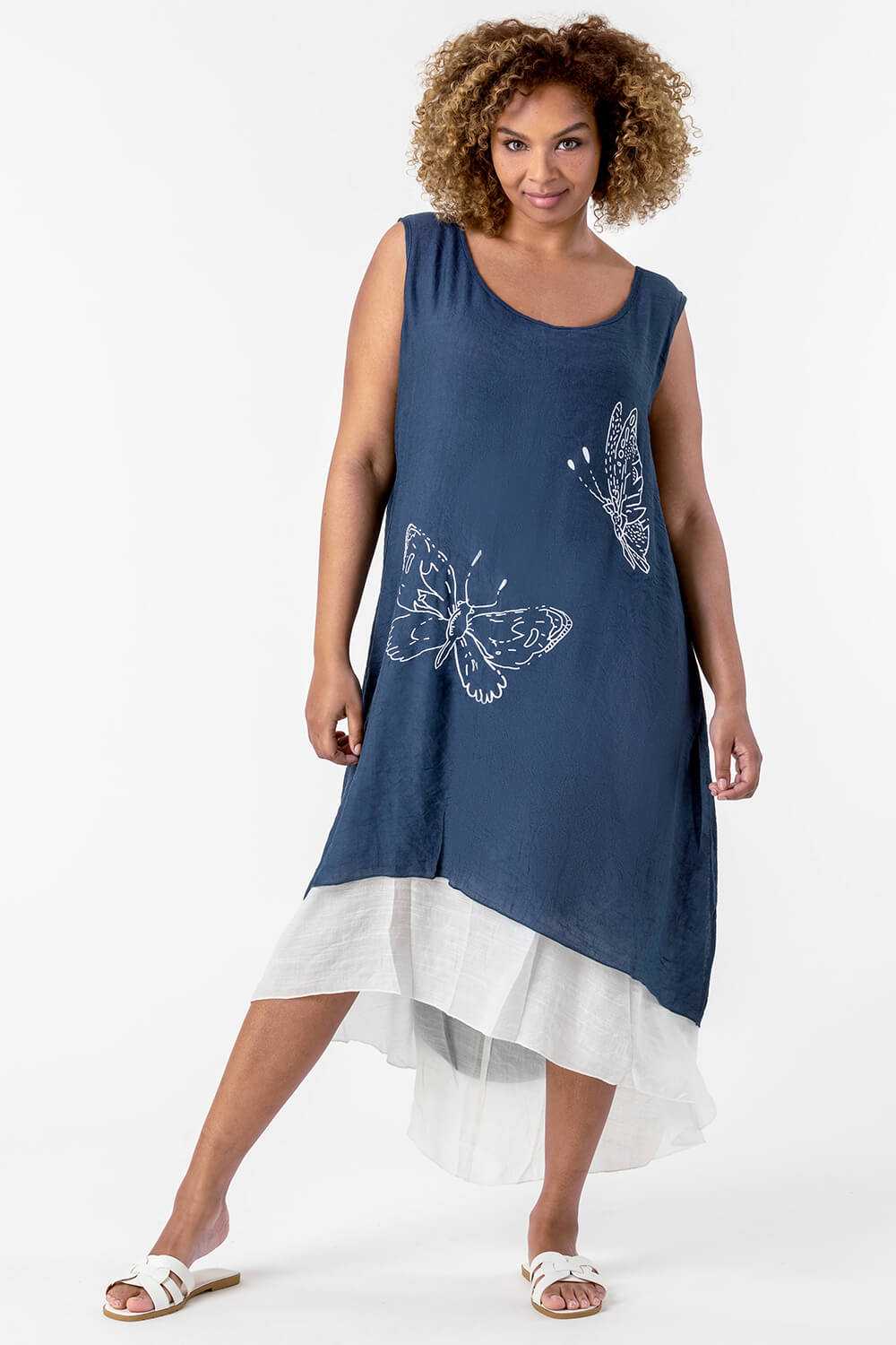 Roman Originals Curve Butterfly Print Layered Dress in Navy
